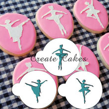 Ballerina Cookie Stencil Set, Cake Side Stencil, Plastic Taart Stencil Voor Decoratie, Stencil Cookies ST-343(China)