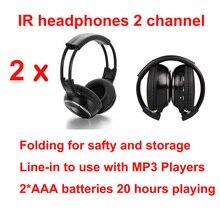 Universal จัดส่งฟรีอินฟราเรดหูฟังไร้สายสเตอริโอชุดหูฟัง IR หลังคารถ dvd หรือ headrest เครื่องเล่น dvd 2 ช่อง 2pcs