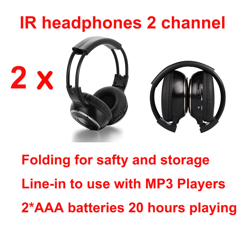 universal free shipping Infrared Stereo Wireless Headphones Headset IR in Car roof dvd or headrest dvd Player two channels 2pcs a set front