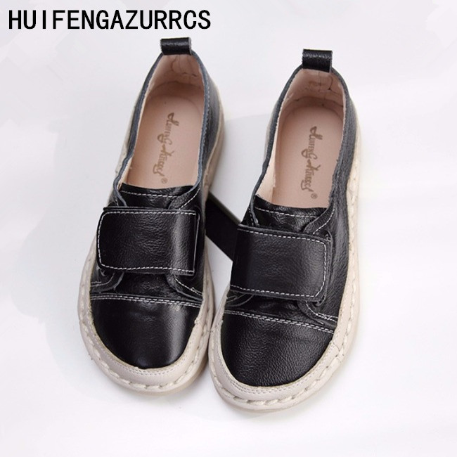 HUIFENGAZURRCS pure handmade shoes the retro art mori girl Flats shoes Genuine leather shoes ultra soft