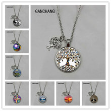 The latest tree of life statement necklace art photo glass convex round pendant charm women's necklace DIY necklace gift jewelry(China)