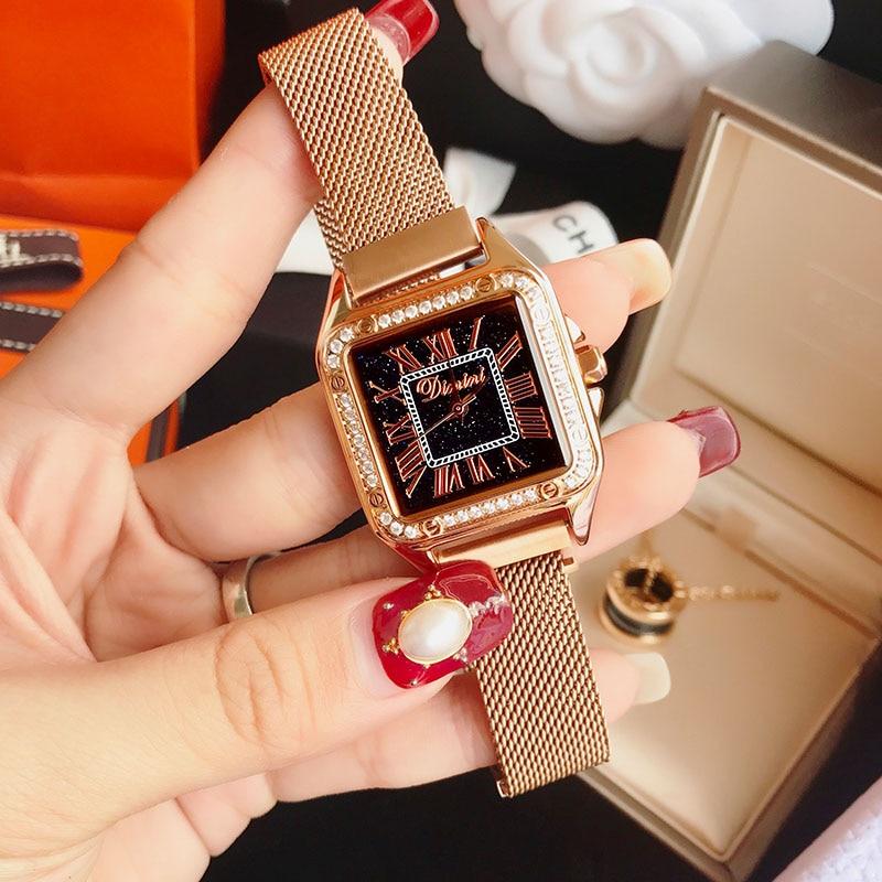 все цены на Watches Women Luxury Brand Lady Wrist Watches Square Fashion Woman Quartz Ladies Magnet Strap Free Buckle Watch Relogio Feminino онлайн