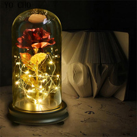 Home Decor LED Lamp Gold Rose In Glass Dome Artificial Flower Red Rose Beautiful Romantic Valentine's day Chrismas New Year Gift