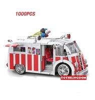 Divertente creator sogno Spiaggia auto moc camioncino dei gelati modello building block mattoni giocattoli educativi collezione per i regali dei bambini