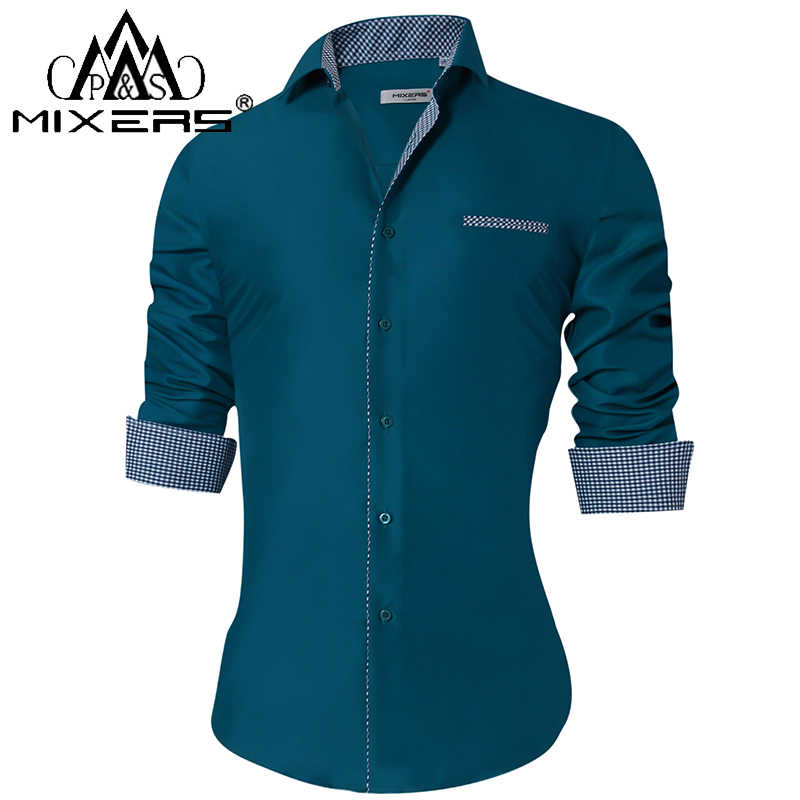 2018 Fashion heren Shirts Lange Mouwen Slim Fit Casual Formele Dress Shirts Mannen Kleding 2018 Turn -Down Kraag