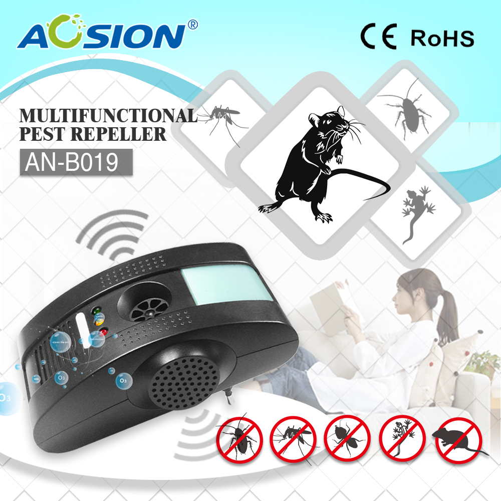 Aosion best selling products 3 ultrasonic head pest repellent to stop pest with ultrasonic wave and electromagnetic