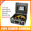 30M/100ft Cable Underwater Duct Cleaning Tube Pipe Inspection Camera Drain Waterproof Pipe Sewer Camera CMOS 1000TVL 12Leds