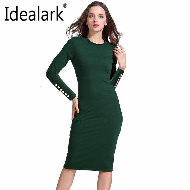 173c4e434b32 Idealark cotone autunno inverno ufficio Delle Donne tubini Sexy 2017 Nuovo  Arrivo Casuale Verde o collo