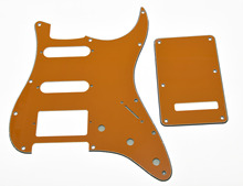 KAISH ST HSS Pickguard, Back Plate Cover w/ Screws Pure Orange 3 Ply