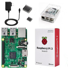4 in 1 Raspberry Pi 3 Kit Wifi & Bluetoothal Raspberry Pi 3 Model B +Heatsinks with Power Supply+Transparent ABS Plastic Case