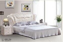 Wysokiej jakości cena fabryczna royal dużym łóżkiem typu king rozmiar prawdziwej skóry miękkie łóżko sypialnia meble ślubne miękkie łóżko 3475