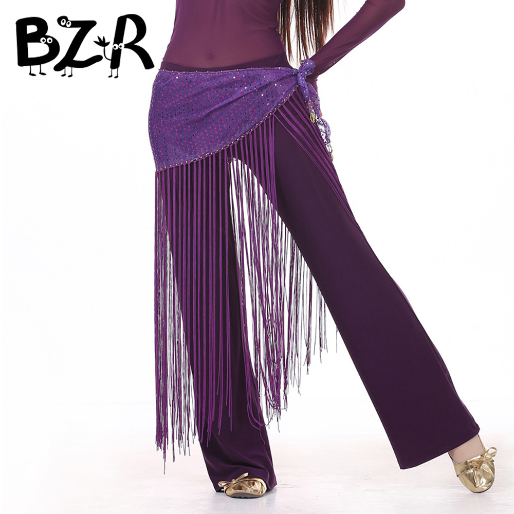 Bazzery Belly Dance Practice Clothes Accessories Stretchy Long Tassel Belt Slim Sequined Belly Dance Hip Scarf 10 Colors