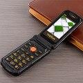 Voltear TKEXUN G800 teléfono móvil Doble Tarjeta SIM 2000 mAh larga espera FM Teléfono móvil Del teclado Ruso del teléfono celular