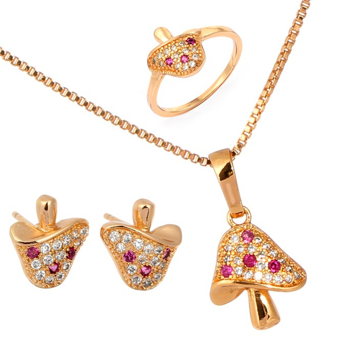 Cute Gold Color Mushroom Full Pave CZ Earrings Ring Pendant Necklace ...