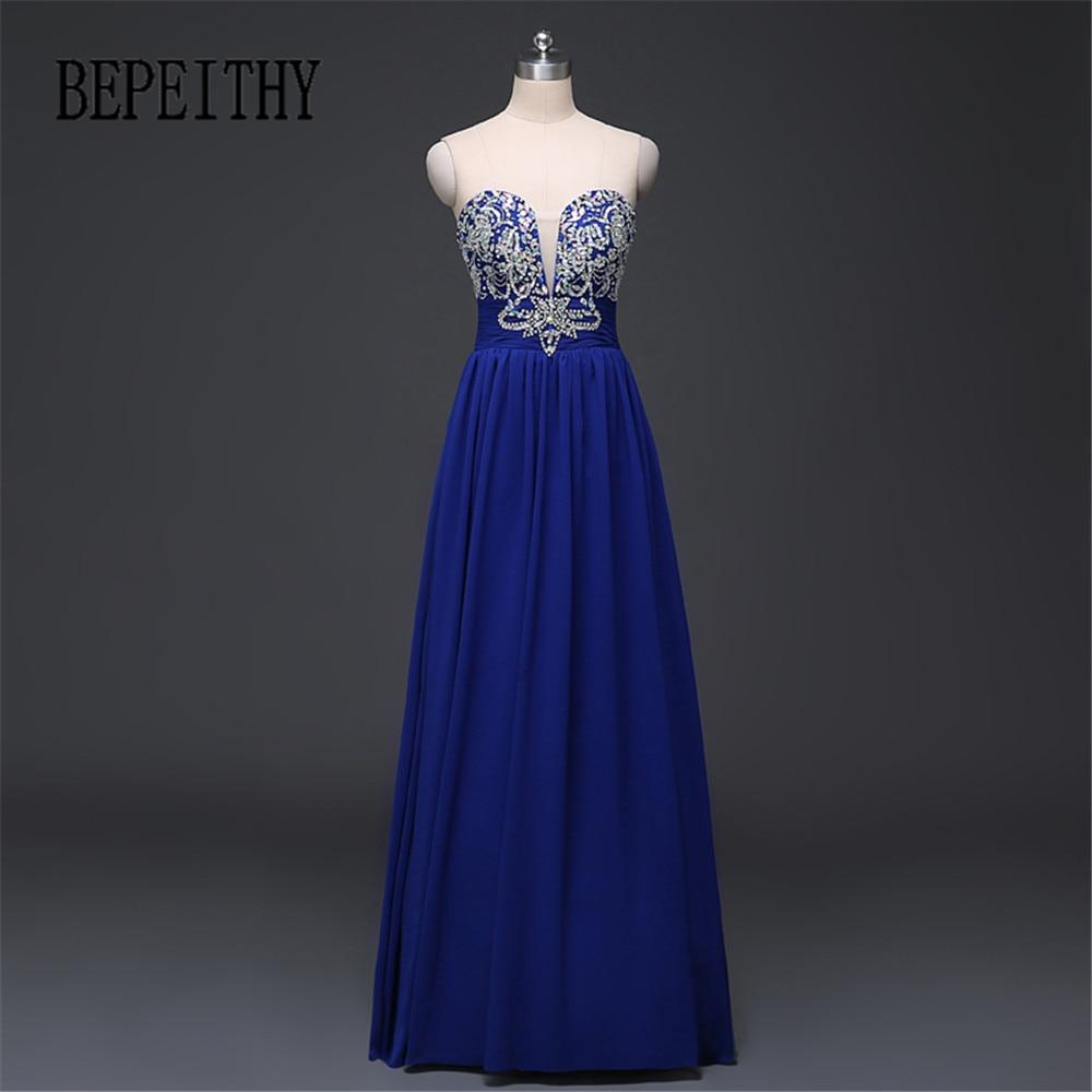 BEPEITH Royal Blue Long Evening Dress Party Elegant Vestido De Festa Longo Chiffon Prom Klänningar 2017 Fashion