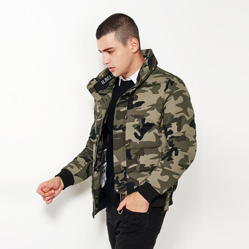 Bosibio 육군 녹색 위장 망 겨울 파카 스탠드 칼라 따뜻한 지퍼 코트 남성 슬림 맞는 자켓 겉옷 고품질 8160-에서파카부터 남성 의류 의  그룹 3