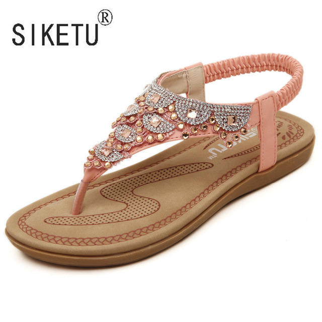 17cc989fe86fc6 2017 New Fashion Summer Women Bohemia Sandals Rhinestones Leisure Beach  Shoes 35-40 SIKETU Brand