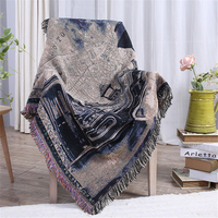 Vintage European Style Moto Vehicle Pattern Blanket Heavy Cotton Thread Sofa Cover Throws Blankets For Beds Home Floor Carpet