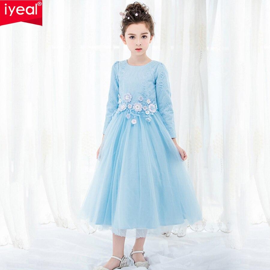 IYEAL High-end Elegant Princess Kid Girl Dresses for Wedding Party Long Sleeve Teenagers Girl Birthday Ceremony Prom Dress 3-12Y цена 2017