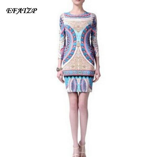 Nouveau 2015 marques de luxe femmes trois quarts manches imprimé Baroque Slash col Stretch Jersey soie grande taille XXL robe-in Robes from Mode Femme et Accessoires    1