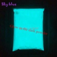 Heldere Hemel Blauwe Kleur En Groene Kleur Fosfor Poeder Glow In The Dark Poeder Lichtgevende Pigment Fotoluminescent Dust Coating