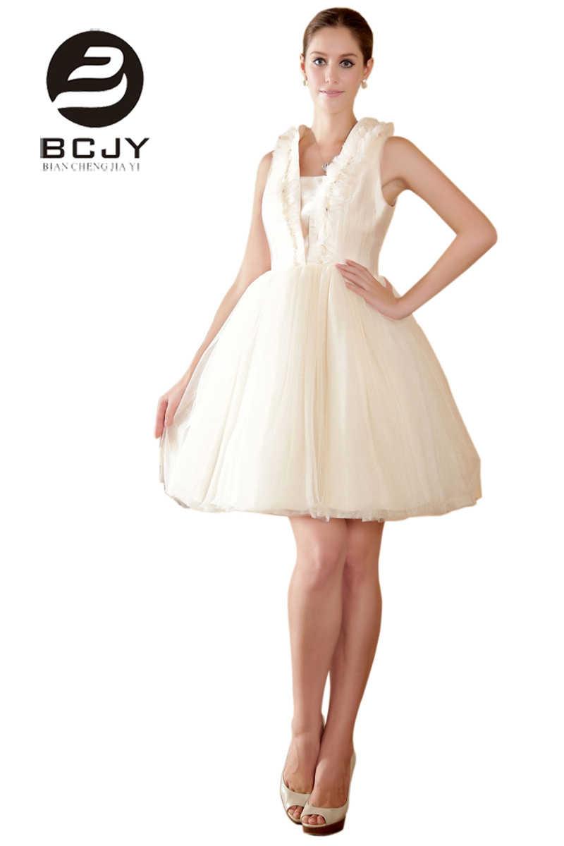 Echt Fotos Kurz Peal Elfenbein Mit Spitze Puffy Prom Kleider 20