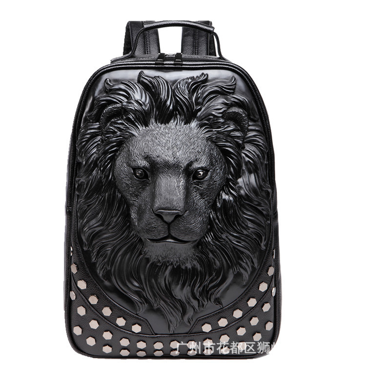 2018 3D Emboss Lion Head Rivet Gother Backpack For Men Women High Quality PU Leather Travel Backpacks Laptop Teenager School Bag