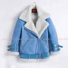 New Blue Color Real Shearling Coat Natural Sheepskin Suede Men and women Jacket Short Clothes Thick Overcoat Baby Blue XS-XL