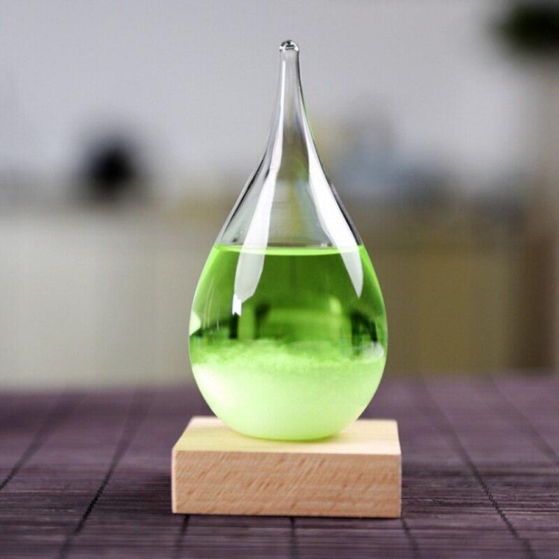 Wasser Form Sturm Glas Bunte Wettervorhersage Kristall Tropfen Glas Mit Holzsockel Dekoration