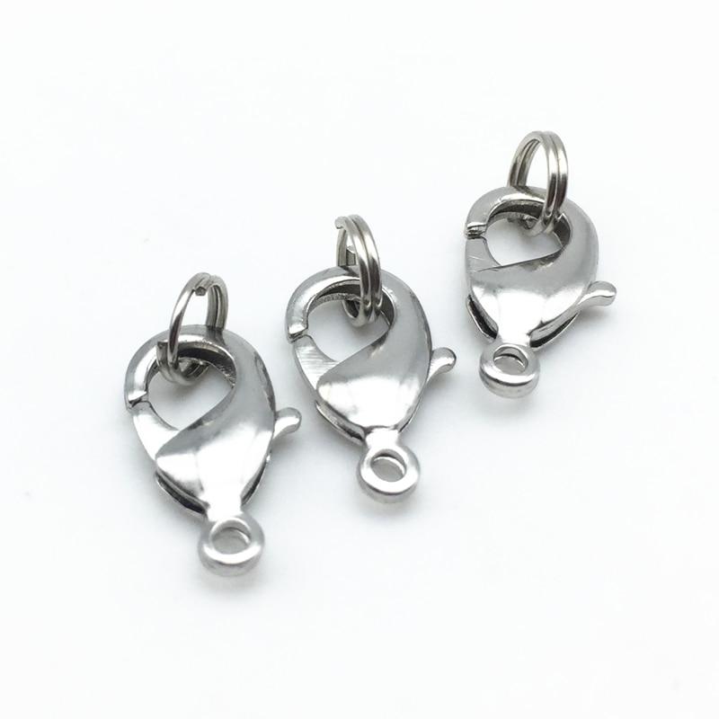 BEADZTALK 8x16MM Nickel Free Copper Brass Lobster Clasp Jewelry Findings Split Ring For DIY Making Neklaces Bracelets