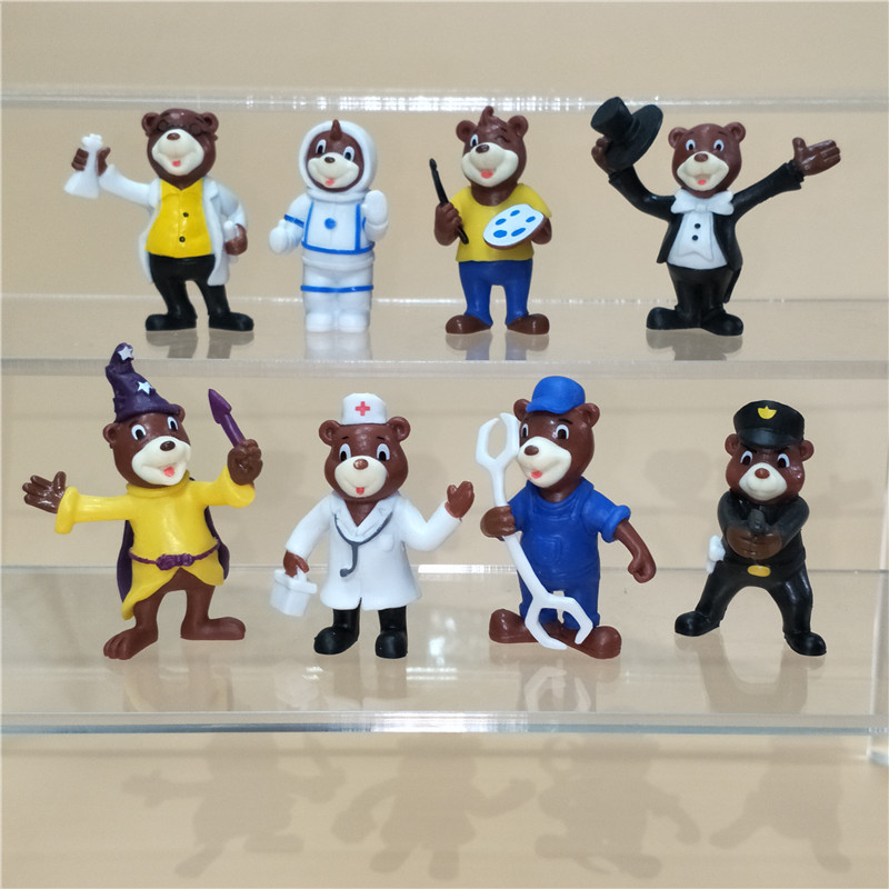 Collection 8 mignon petit ours formes Micro paysage ornement médecin musicien magicien scientifique astronaute ingénieur Police ours