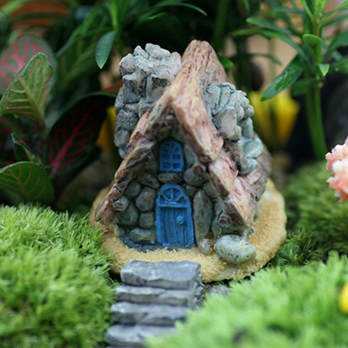 Hot! Mini Stone House Resin Decoration Fairy For Home And Garden DIY Miniature Craft Cottage Micro Landscape Decors