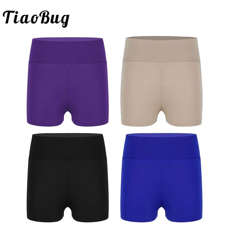 TiaoBug Girls Boy-cut High Waist Activewear Ballet Dance Shorts Kids Gym Sports Fitness Yoga Gymnastics Shorts Child Dance Wear
