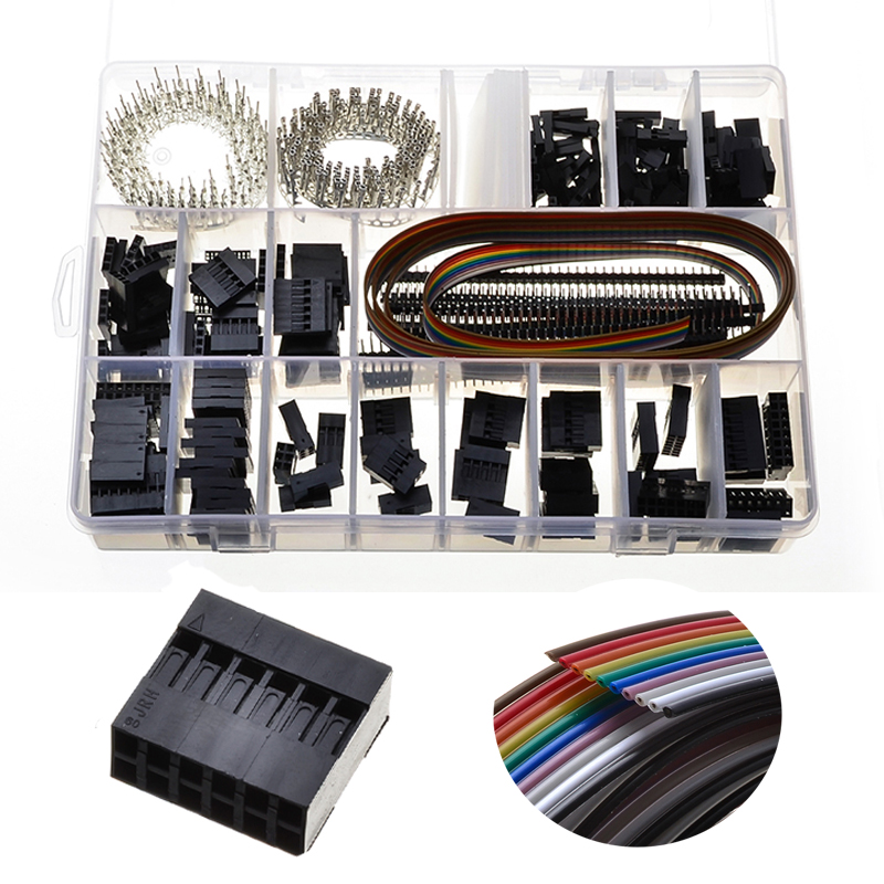 YT 520Pcs/Box 2.54mm Double Row 2x3/4/5/6/7/8 Pin Header Dupont Jumper Cable Wire Connectors Housing Male Female Crimp Connector yt 230pcs 2 3 4 5 pin header jumper cable wire housing crimp connectors 2 54mm male female dupont connectors terminals with box