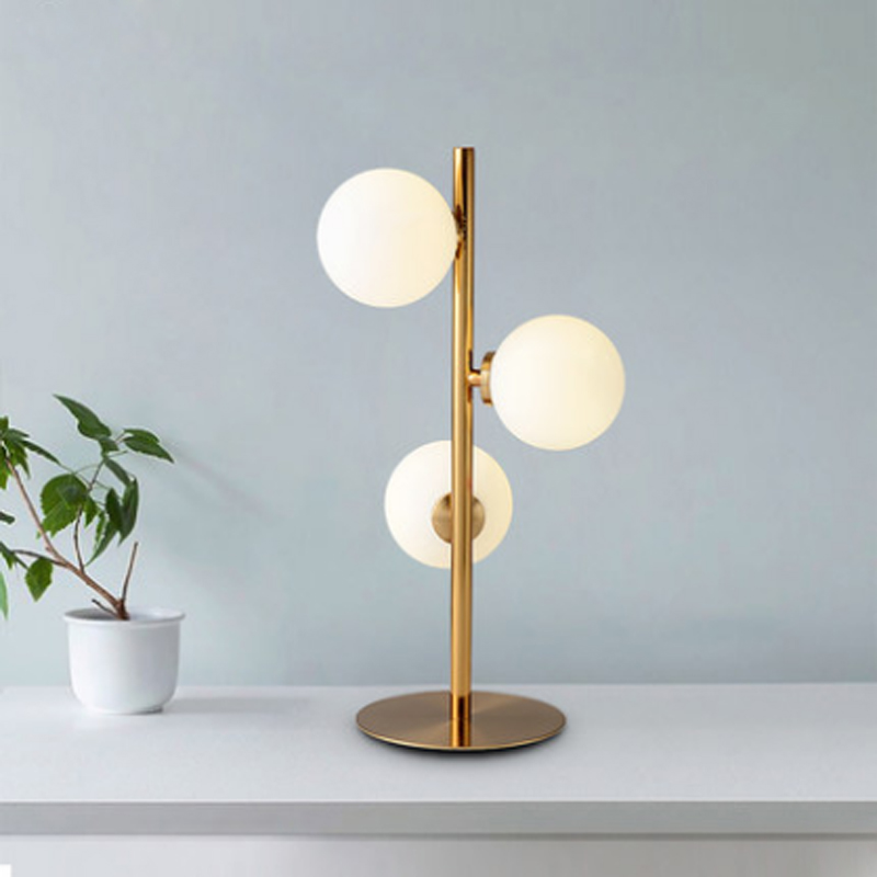 Nordic simple ball design table lamp creative white frosted glass plated gold body LED G4 lighting bedroom decoration desk light