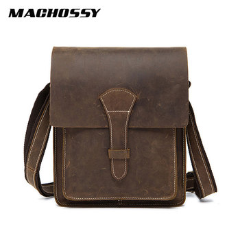 Genuine Leather Men's Shoulder Bag Crazy Horse Leather Messenger Bag Men's Cover Crossbody Vintage Male Zipper Flap Bag Handbag