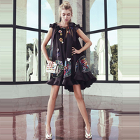 HIGH QUALITY 2019 Summer fashion Runway party Dresses Women's butterfly sleeve Floral Embroidery Black Mini Dress Ladies Clothes