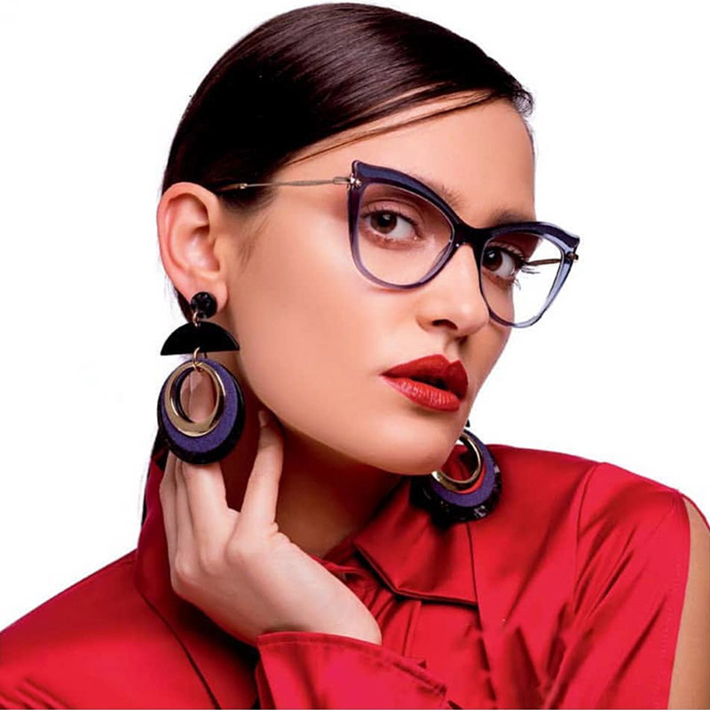 Semi-Transparent Acetate Optical Eyeglasses Fashion Female Stylish Frame Spectacles for Women Prescription Glasses Frame