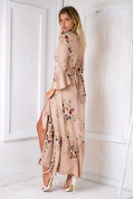 Boho chic Summer style high split women dress 2017 bohemia beach dress full sleeve v-Neck print loose maxi long beach wear dress
