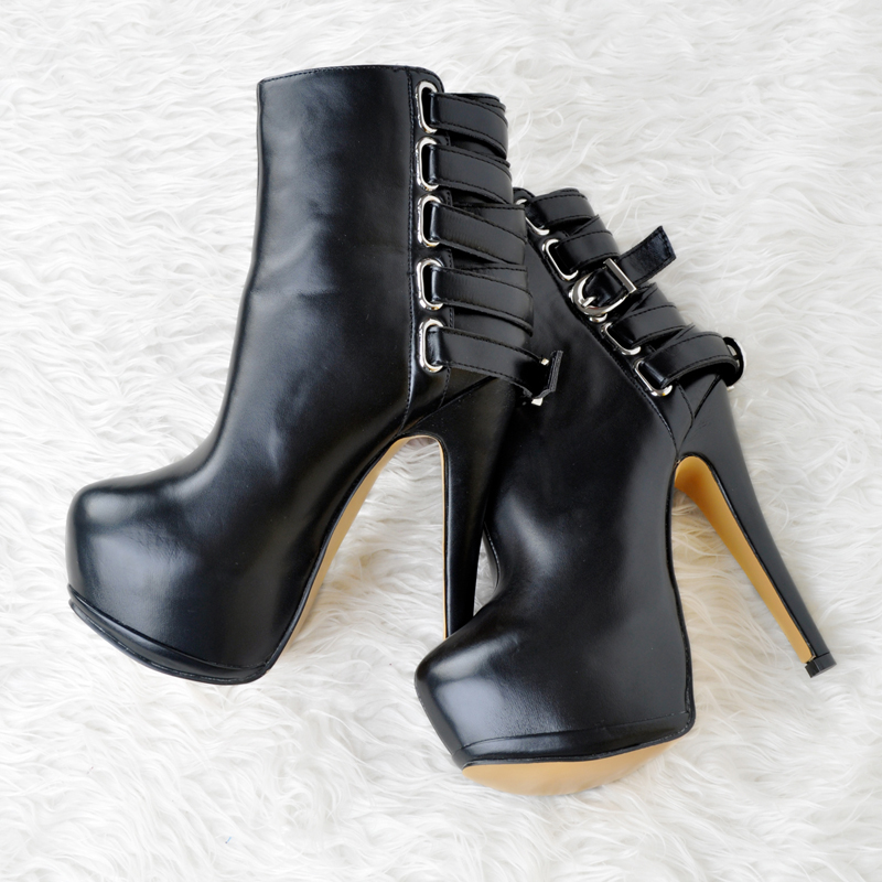 Botas Mujer 2017 Thin High Heels Closed Toe Platform Shoes Women Ankle Boots Buckle Decorated Botines Ladies Black Shoes womens winter shoes ankle boots women bota feminina botas mujer botines mujer 2017 ladies platform wedge boots botas de neve