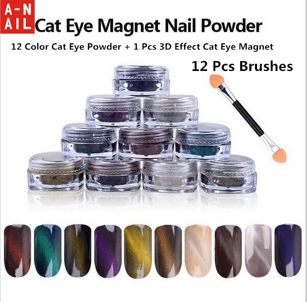 12 color Cat Eye Powder + 1 Pcs 3D Effect Cat Eye Magnet + 12 Pcs Brushes Magic Mirror Powder Dust UV Gel Polish Nail Glitter