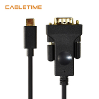 CABLETIME USB C to VGA Cable High quality 1080P Black Type C to VGA 1.8m Cable for Laptop UHD External Video Projector N110