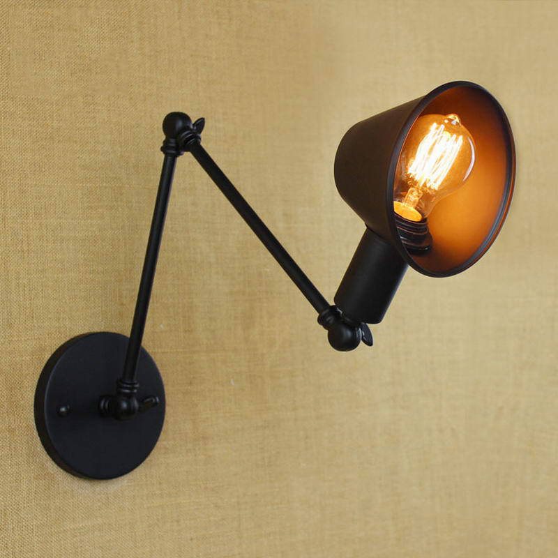 Loft retro Matte Black iron shade adjustable swing arm reading wall lamps Lights e27 / e26 sconce for workroom bedroom bar cafeLoft retro Matte Black iron shade adjustable swing arm reading wall lamps Lights e27 / e26 sconce for workroom bedroom bar cafe