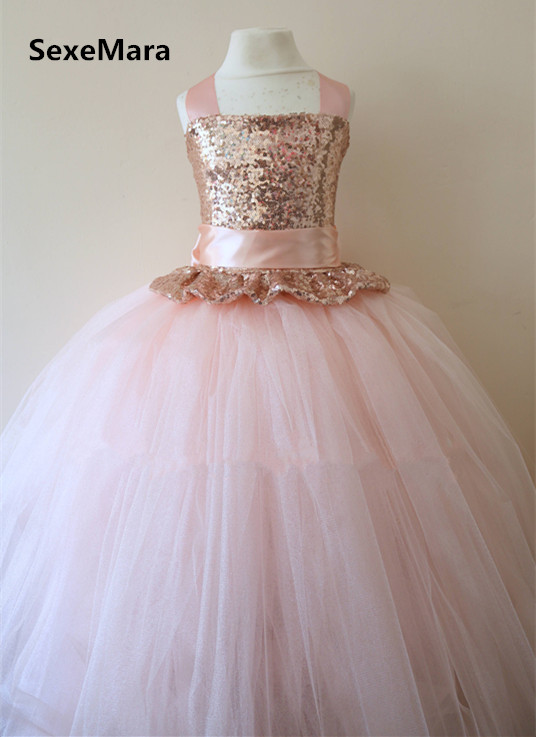 23f238af7 Rose Gold Sequins Flower Girl Dress Blush Pink Puffy Tulle Ball Gown Little  Princess Birthday Party Dress Christmas Gown