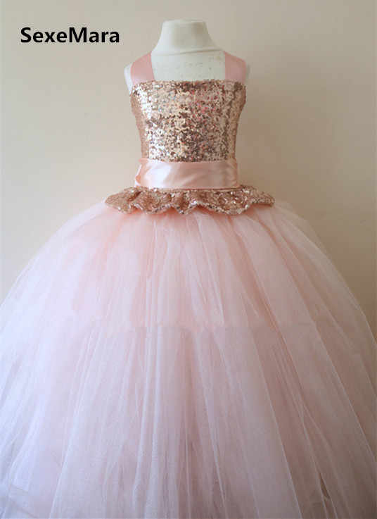3763ff355e2 Detail Feedback Questions about Rose Gold Sequins Flower Girl Dress Blush  Pink Puffy Tulle Ball Gown Little Princess Birthday Party Dress Christmas  Gown on ...