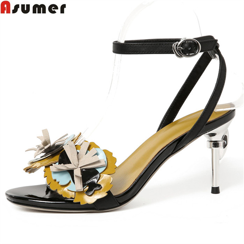 ASUMER black buckle 2018 summer new arrival ladies wedding shoes woman elegant women high heels genuine leather sandals 2014 spring and summer new elegant gold buckle leather shoes women shoes carrefour