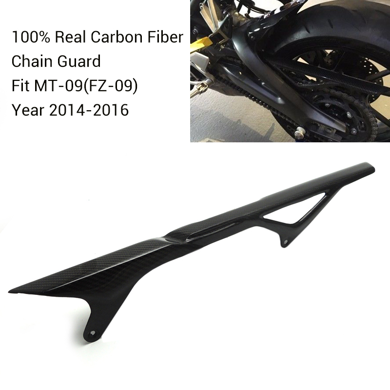 MT 09 FZ 09 Real Carbon Fiber Rear Chain Guard Mud Cover For YAMAHA MT-09 FZ-09 MT09 FZ09 2014 2015 2016 MT FZ 09