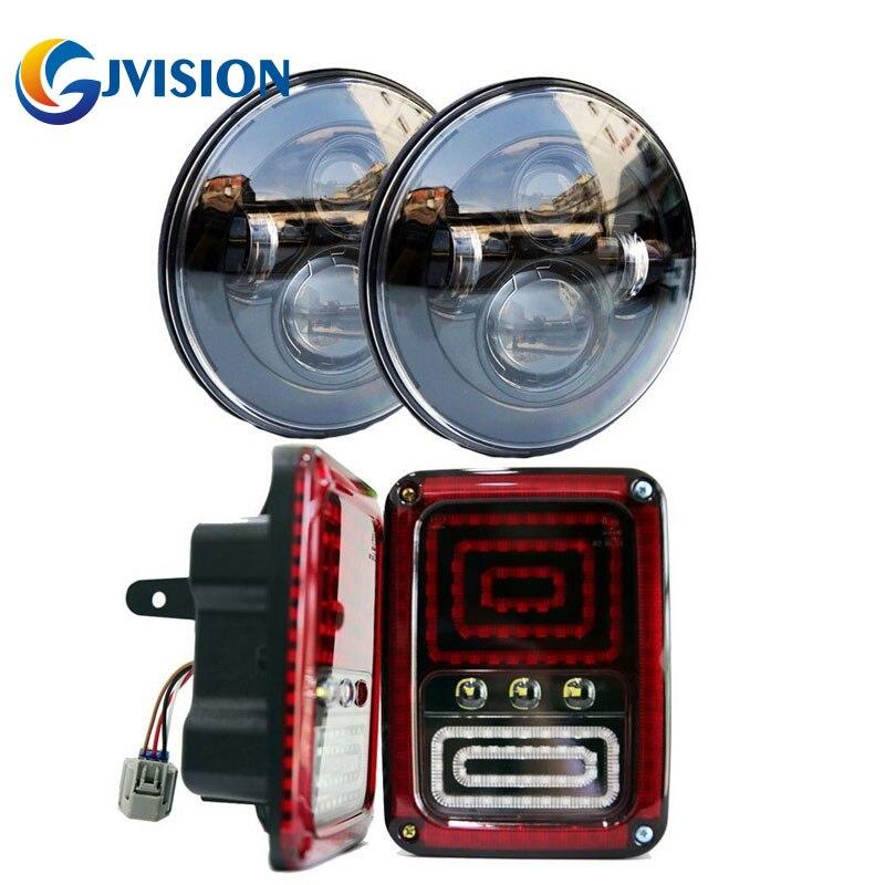 7-дюймовый черный проектор фары автомобиля светодиодные лампы 40Вт фары для Jeep Вранглер JK, как и пара светодиодная сборка заднего тормоза задние фонари