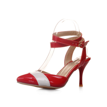 Brand New Hot Sexy Blue Red Yellow Women Glossy Sandals Pumps Fashion Ladies High Heel Shoes AMY2-6 Plus Big Size 4 10 11 46