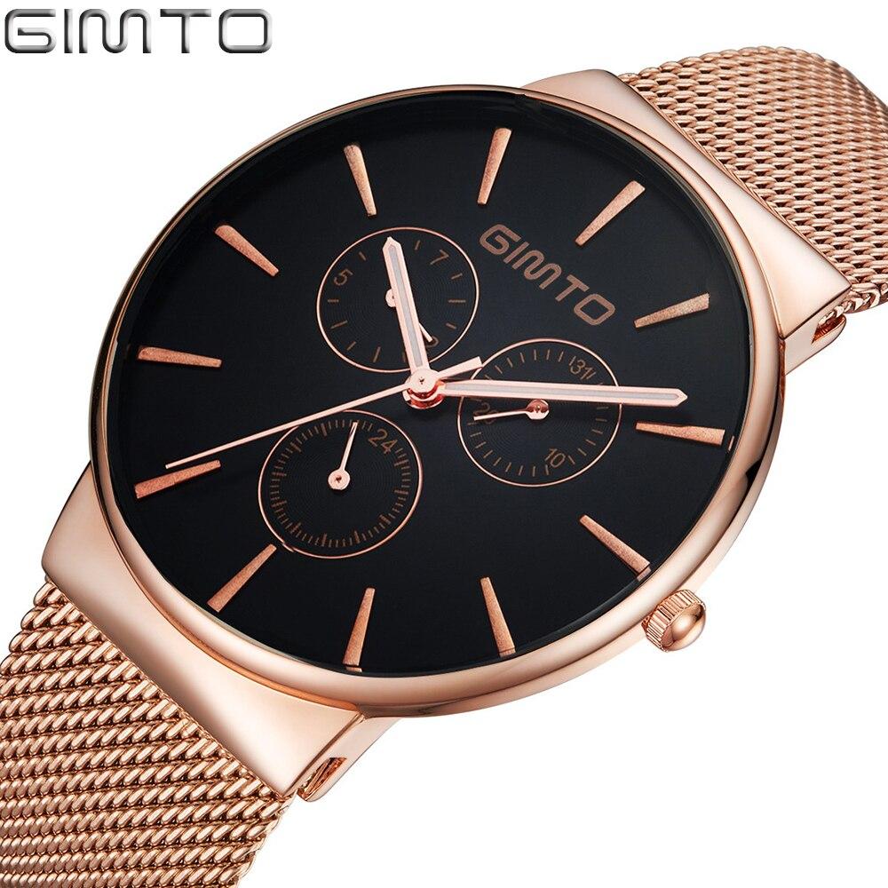 Prix pour GIMTO De Luxe Marque Montre Hommes En Acier Or Rose Quartz Montre Amant Robe Casual Montres Homme Horloge Reloj Hombre Relogio Montre